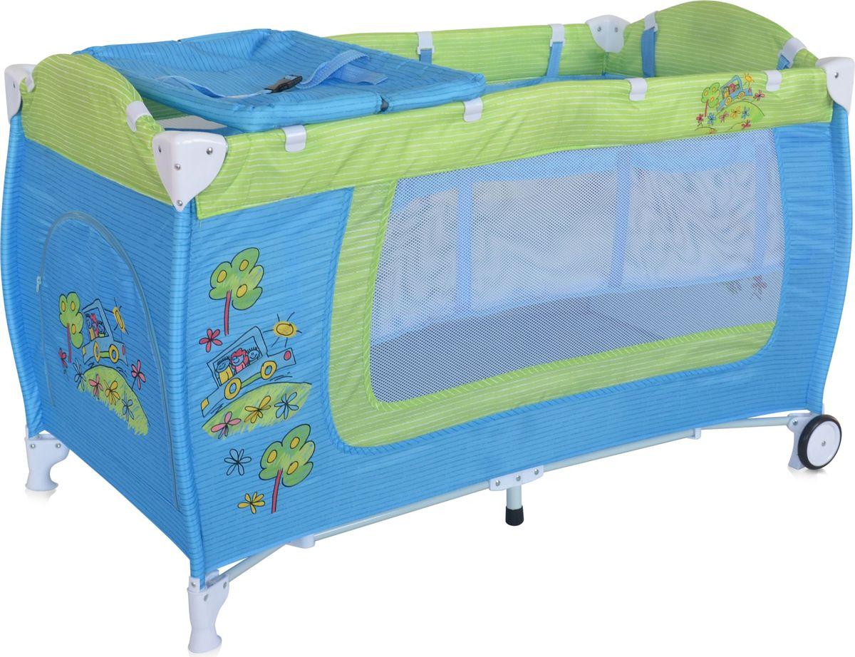 Lorelli Манеж Danny 2 цвет синий зеленый3800151960195Детский манеж-кровать для детей с рождения и до 3 лет. Верхний уровень с рождения и до 6 месяцев, в комплекте идет пеленальник с рождения и до 3 месяцев. Надежные пластиковые крепления. Два колеса с фиксацией. Яркие расцветки, приятны для мамы и малыша. Манеж безопасен для игр и сна малыша, надежная установка и безопасность. Манеж имеет боковой лаз на молнии, легкую систему складывания и раскладывания, сумку-чехол для переноски манежа. Матрасик в комплекте на дно манежа.