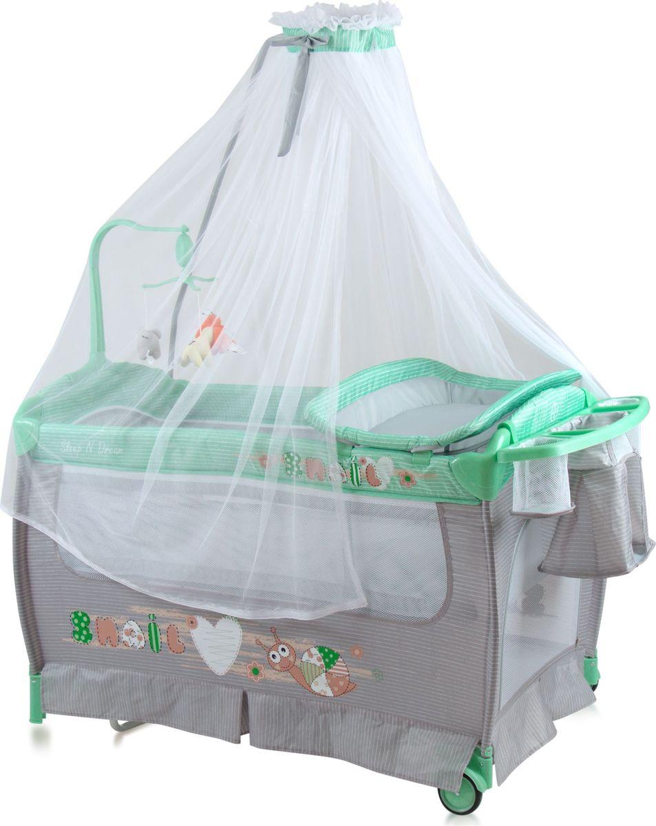 Lorelli Манеж-кроватка Sleep'N'Dream Rocker цвет зеленый серый -  Детская комната