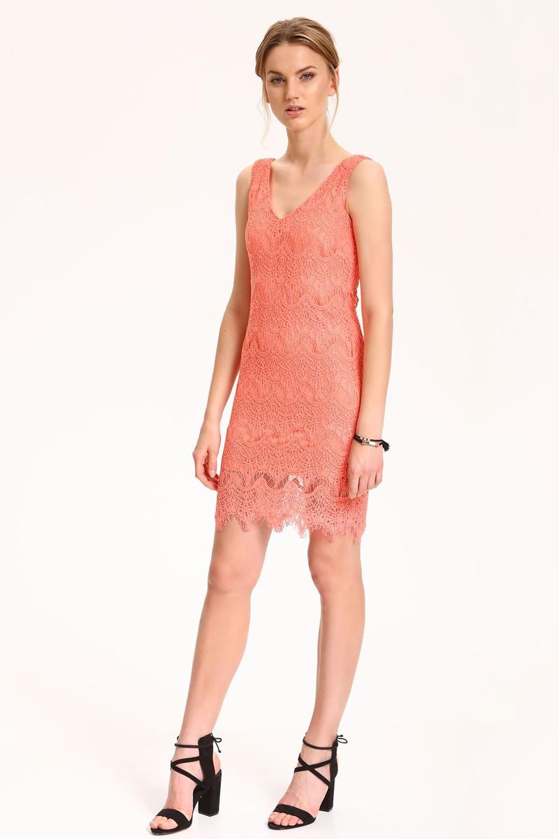 Платье Top Secret, цвет: розовый. SSU1805JR. Размер 34 (42)SSU1805JRЭлегантное ажурное платье Top Secret выполнено из хлопка с полиэстером. Такое платье обеспечит вам комфорт и удобство при носке. Модель полуприлегающего силуэта с V-образным вырезом горловины и без рукавов. Модное платье-миди создаст обворожительный и неповторимый образ. Это платье станет превосходным дополнением к вашему гардеробу, оно подарит вам удобство и поможет вам подчеркнуть свой вкус и стиль.