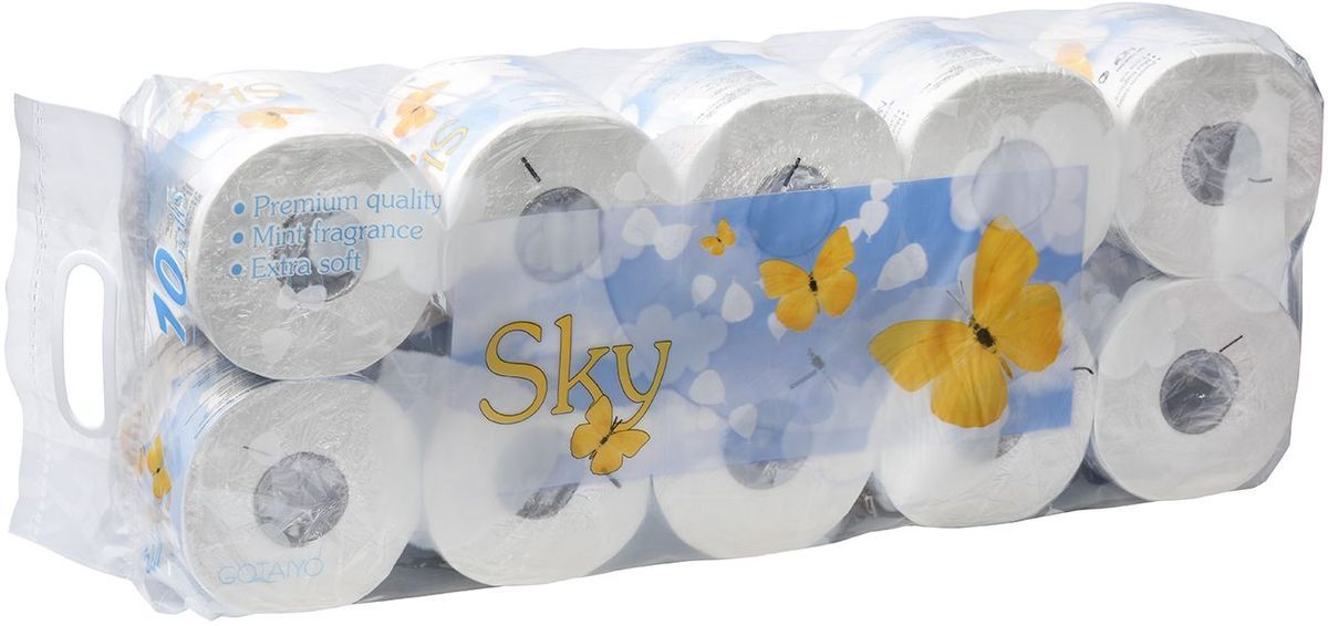 Туалетная бумага Gotayio  Sky , трехслойная, с ароматом ментола, 10 рулонов - Туалетная бумага