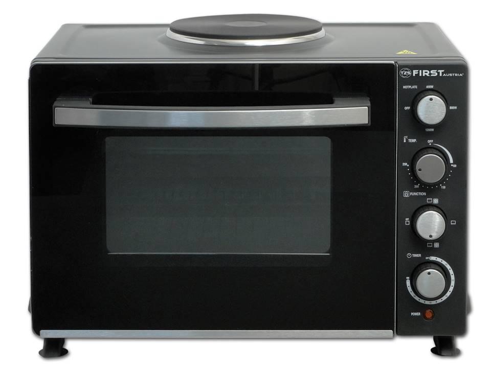 First 5045-3, Black мини-печьFA-5045-3 BlackМини-печь First 5045-3 имеет объем 30 литров и мощность 2700 Вт. Этот компактный прибор пригодится на любой кухне.Возможны одновременная работа плитки и печи, верхний/нижний /комбо нагрев, функции конвекции. Регулируемая температура - от 100°C до 250°C.Таймер на 60 минут позволит рассчитать точное время приготовления блюд.