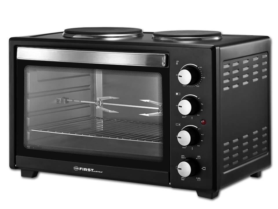 First 5045-4, Black мини-печьFA-5045-4 BlackМини-печь First 5045-4 отлично подойдет для небольшой квартиры или дома. Обладая компактными размерами, модель найдет место на кухне, и не будет занимать много пространства. Несмотря на свой небольшой размер, печь имеет множество возможностей для приготовления ваших любимых блюд.Модель оснащена внутренней подсветкой. На фронтальную панель печи вынесены регулятор таймера на 60 минут, ручка термостата с возможностью регулировки температуры от 100°C до 230°C , регулятор выбора режимов работы и ручка управления конфорками.Мини-печь оснащена функциями конвекции и гриль.