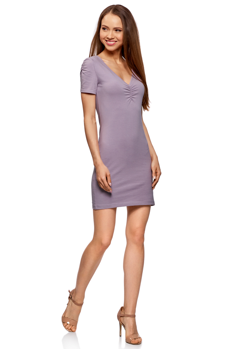 Платье oodji Ultra, цвет: сиреневый. 14001082B/47490/8000N. Размер S (44) платье oodji ultra цвет сиреневый 14017001 6b 47420 8000n размер xl 50