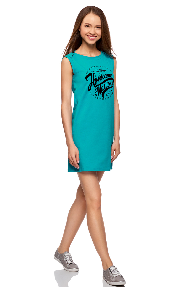 Платье oodji Ultra, цвет: бирюзовый, черный. 14005074-5/46149/7329P. Размер XXS (40)14005074-5/46149/7329PПлатье прямого силуэта из эластичного хлопка оформлено надписью спереди. Модель без рукавов и с круглым вырезом горловины.