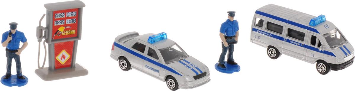 ТехноПарк Набор машинок Полиция с фигурками технопарк набор машинок экскаватор и самосвал с прицепом