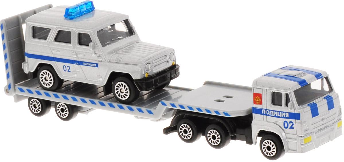 ТехноПарк Набор машинок КамАЗ Транспортер с УАЗом Полиция 2 шт SB-15-04-5-WB машинки технопарк набор из 2 х металлических моделей технопарк уаз полиция