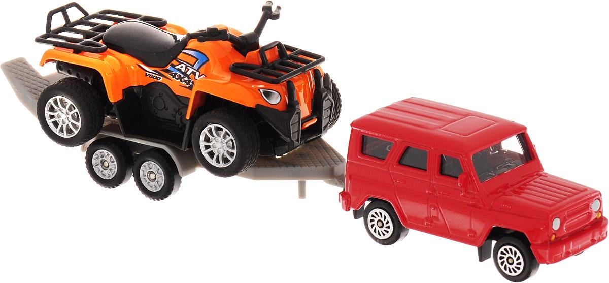 ТехноПарк Набор машинок УАЗ с квадроциклом на прицепе toystate машина с мотоциклом квадроциклом на прицепе цвет красный