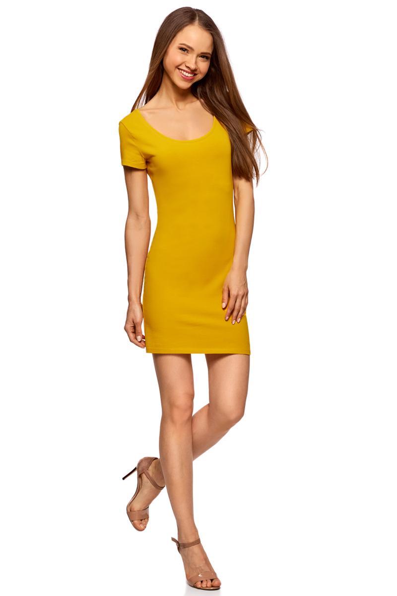 Платье oodji Ultra, цвет: горчичный. 14001182B/47420/5700N. Размер XXS (40) болеро oodji ultra цвет красный 14607001 1 24438 4500n размер xxs 40