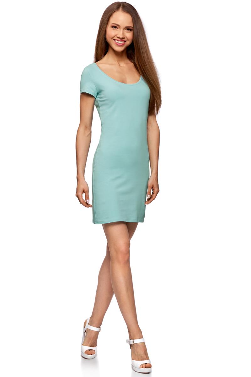 Платье oodji Ultra, цвет: бирюзовый. 14001182B/47420/7300N. Размер XS (42)14001182B/47420/7300NОблегающее платье oodji Ultra выполнено из качественного трикотажа. Модель мини-длины с круглым вырезом горловиныи короткими рукавами выгодно подчеркивает достоинства фигуры.