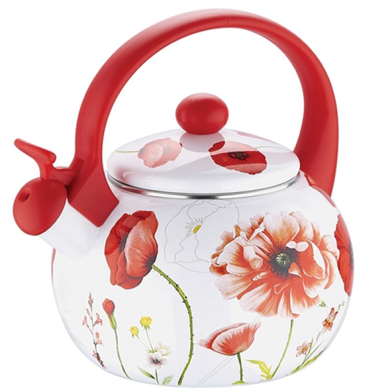 Чайник эмалированный  Wellberg , со свистком,Маки цвет: белый, красный, 2,2 л - Посуда для приготовления