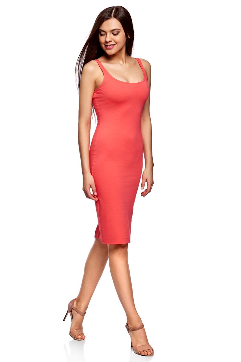 Платье oodji Ultra, цвет: ярко-розовый. 14015007-2B/47420/4D00N. Размер XXS (40)14015007-2B/47420/4D00NЛегкое обтягивающее платье oodji Ultra, выгодно подчеркивающее достоинства фигуры, выполнено из качественного эластичного хлопка. Модель миди-длины с круглым вырезом горловины и узкими бретелями дополнена разрезом на юбке с задней стороны. Мягкая ткань приятна на ощупь и комфортна в носке.