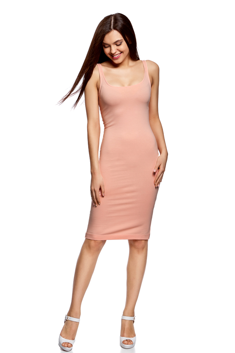 Платье oodji Ultra, цвет: персиковый. 14015007-2B/47420/5400N. Размер XS (42)14015007-2B/47420/5400NЛегкое обтягивающее платье oodji Ultra, выгодно подчеркивающее достоинства фигуры, выполнено из качественного эластичного хлопка. Модель миди-длины с круглым вырезом горловины и узкими бретелями дополнена разрезом на юбке с задней стороны. Мягкая ткань приятна на ощупь и комфортна в носке.