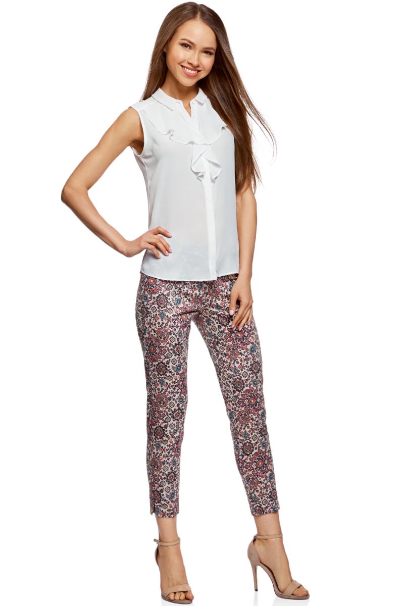 Блузка женская oodji Collection, цвет: белый. 21411108/36215/1200N. Размер 46-170 (52-170) платье oodji collection цвет черный белый 24001104 1 35477 1079s размер l 48