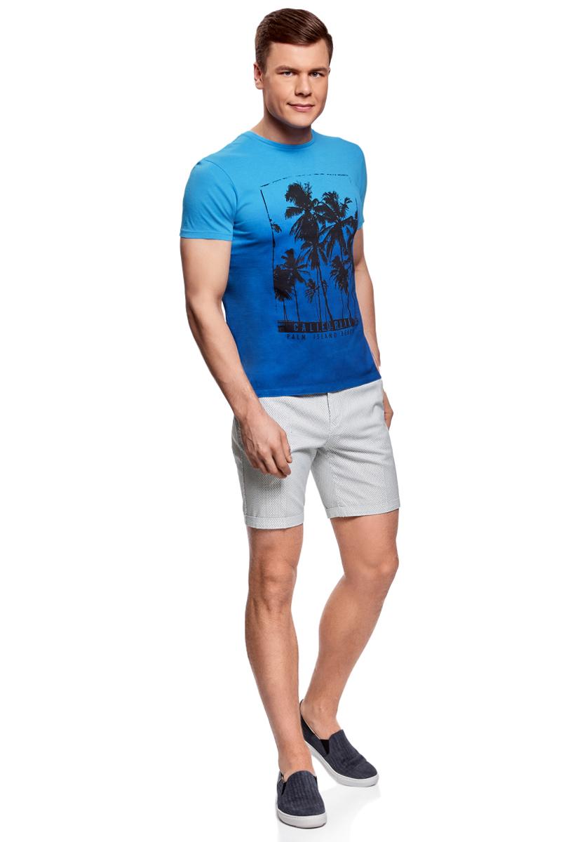 Шорты мужские oodji Lab, цвет: белый, голубой. 2L600011M/39344N/1074G. Размер 46-182 (54-182)