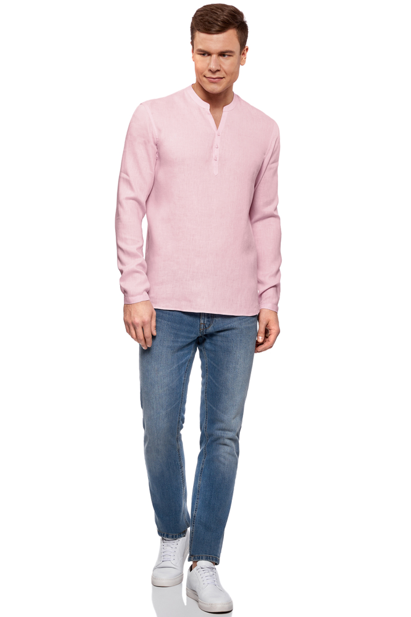 Рубашка мужская oodji Basic, цвет: светло-розовый. 3B320002M/21155N/4000N. Размер XL-182 (56-182)3B320002M/21155N/4000NМужская рубашка от oodji выполнена из натурального льна. Модель без воротника с длинными рукавами на груди застегивается на пуговицы. Лен идеально подходит для теплой погоды. Он пропускает воздух, не вызывает аллергии, не выцветает на солнце. Льняные вещи просто приятно носить в жаркие дни.