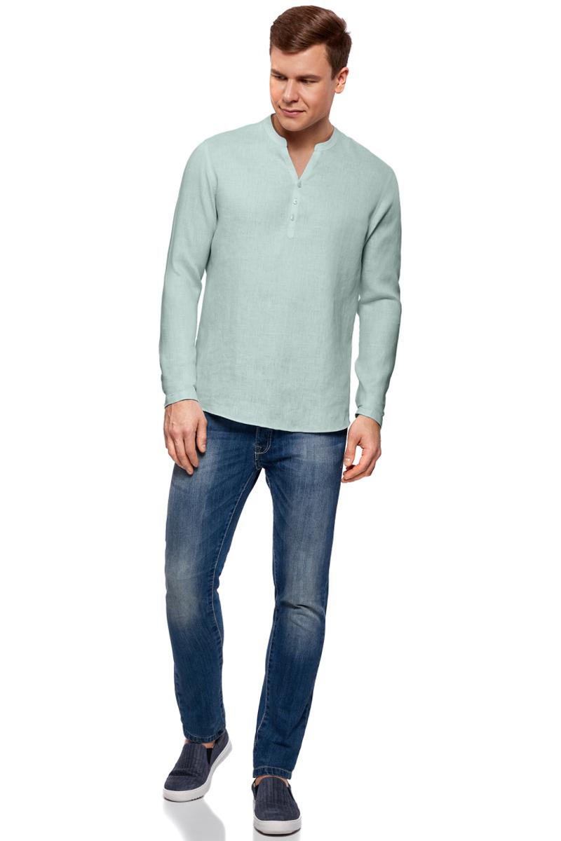 Рубашка мужская oodji Basic, цвет: светло-голубой. 3B320002M/21155N/6000N. Размер XL-182 (56-182)3B320002M/21155N/6000NМужская рубашка от oodji выполнена из натурального льна. Модель без воротника с длинными рукавами на груди застегивается на пуговицы. Лен идеально подходит для теплой погоды. Он пропускает воздух, не вызывает аллергии, не выцветает на солнце. Льняные вещи просто приятно носить в жаркие дни.
