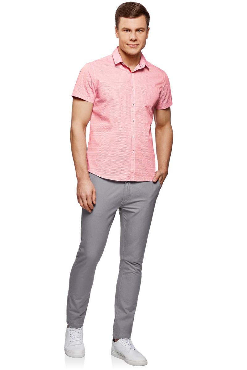 Рубашка мужская oodji Lab, цвет: белый, красный. 3L210047M/44425N/1045G. Размер 44-182 (56-182)3L210047M/44425N/1045GМужская рубашка от oodji выполнена из натурального хлопка. Модель приталенного кроя с короткими рукавами и нагрудным карманом застегивается на пуговицы.