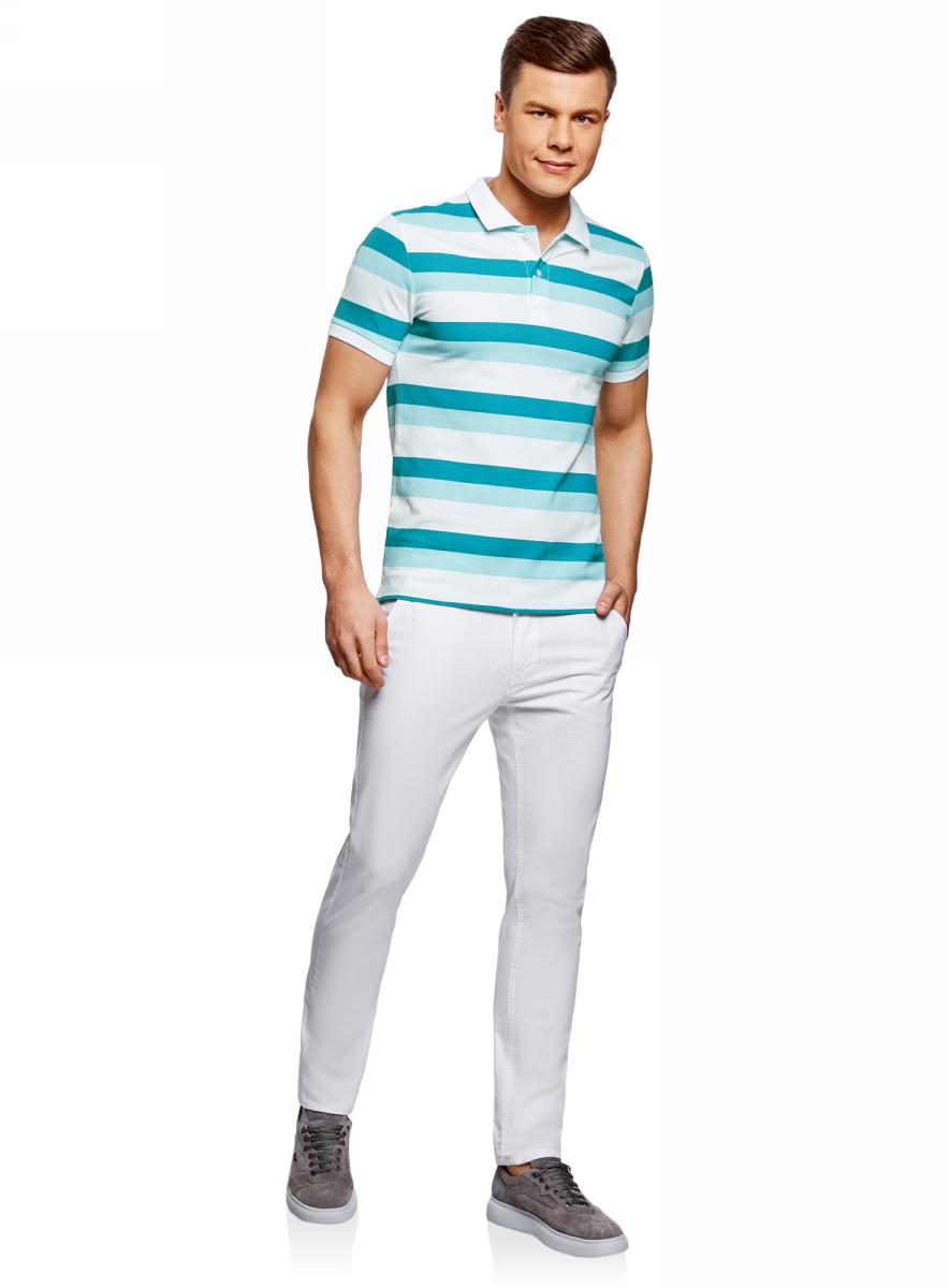 Поло мужское oodji Lab, цвет: белый, синий меланж. 5L412257M/44031N/1076S. Размер XL (56)