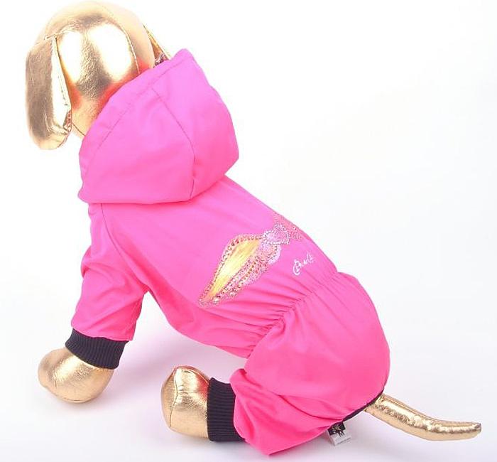 Дождевик прогулочный для собак GLG Крылья, цвет: розовый. Размер XS дождевик для собак