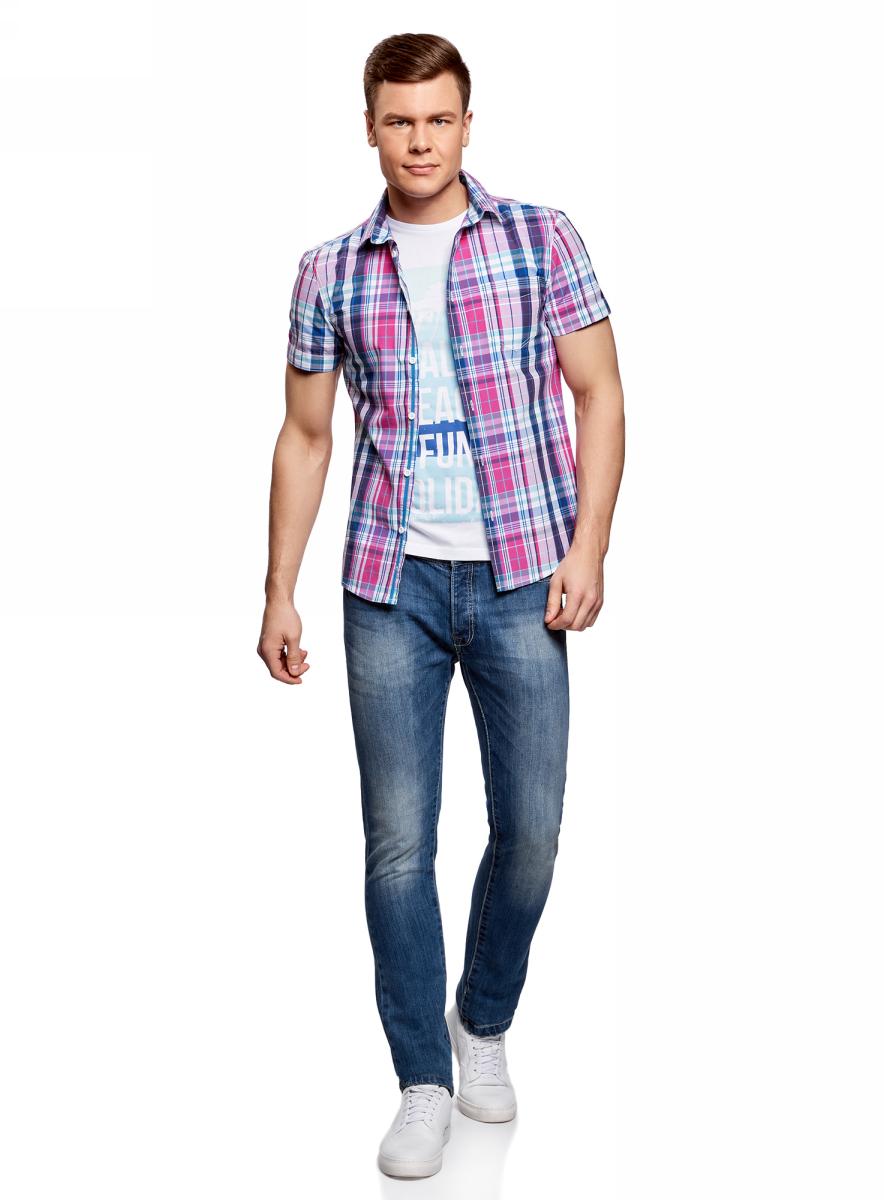 Рубашка мужская oodji Lab, цвет: белый, розовый. 3L410100M/34319N/1041C. Размер L-182 (52/54-182)3L410100M/34319N/1041CМужская рубашка от oodji выполнена из натурального хлопка. Модель с короткими рукавами и нагрудным карманом застегивается на пуговицы.