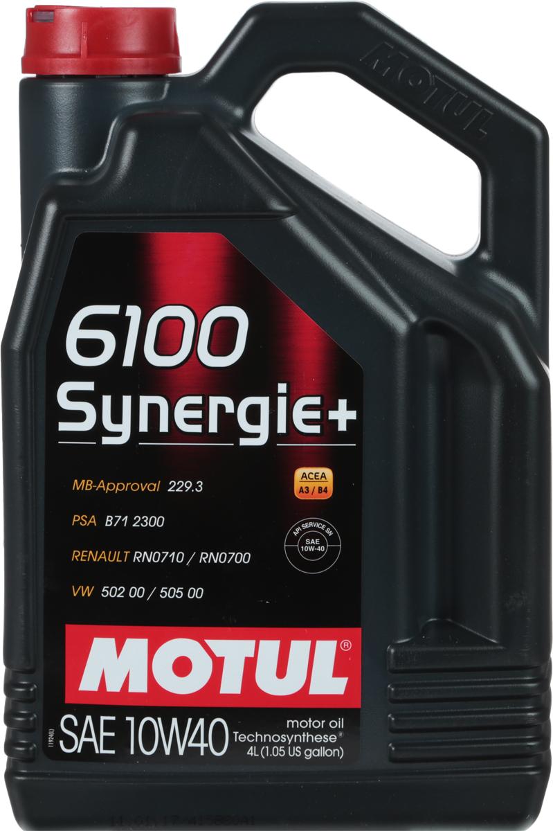 Масло моторное Motul 6100 Synergie+. Technosynthese, синтетическое, 10W-40, 4 л101491Моторное масло для бензиновых и дизельных двигателей Technosynthese.Моторное масло специально разработанное для новых мощных автомобилей, с большой литровой мощностью. Турбо-дизельные двигатели с непосредственным впрыском, бензиновые двигатели с инжектором и каталитическим конвертором. Совместимо со всеми типами топлива: бензин (этилированный/неэтилированный), дизельное топливо, газ.Перед применением всегда сверяйтесь с руководством по эксплуатации автомобиля. ACEA Стандарты: ACEA A3/B4API Стандарты: API SN/CFОдобрения: MB-Approval 229.3; VW 502 00 / 505 00; Renault RN 0710 / 0700; PSA B71 2300