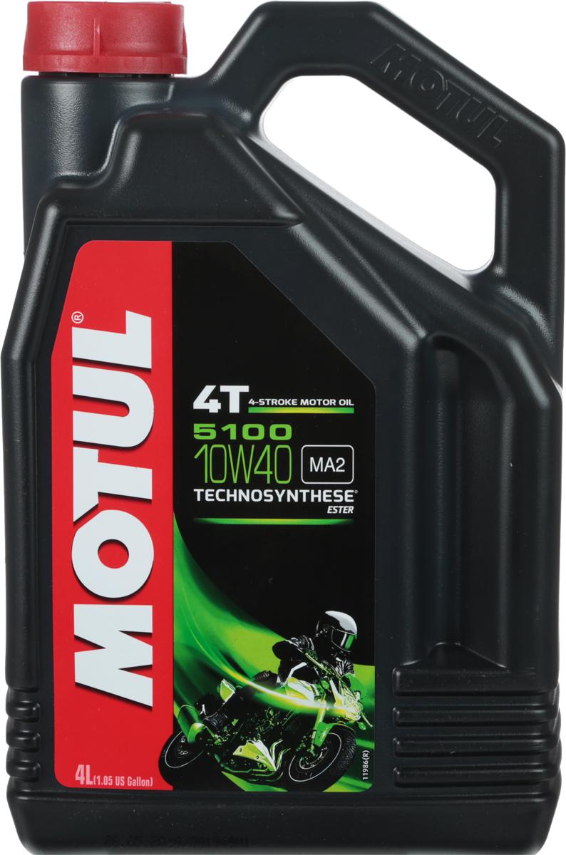 Масло моторное Motul 5100 4T. Technosynthese, синтетическое, 10W-40, 4 л104068Моторное масло для 4-х тактных мотоциклов. Создано по технологии сложных эфиров (эстеров), Technosynthese . Улучшенная стойкость масляной пленки обеспечивает защиту двигателя и коробки переключения передач, а также плавное переключение. Соответствует требованиям Jaso Ma2, что обеспечивает четкость работы сцепления в масляной ванне. Совместимо с системами нейтрализации отработавших газов. API Стандарты: API SG/SH/SJ/SL/SMJASO Стандарты: JASO MA2 M033MOT112