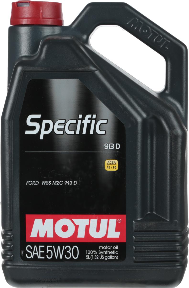 Масло моторное Motul Specific 913D, синтетическое, 5W-30, 5 л104560100% синтетическое энергосберегающее масло для всех дизельных и некоторых бензиновых (см. техническую документацию) двигателей FORD. Одобрение FORD WSS M2C 913 D перекрывает большинство двигателей, требующих моторное масло с допуском FORD WSS M2C 913 A, 913 B и 913 C.ACEA Стандарты: ACEA A5/B5
