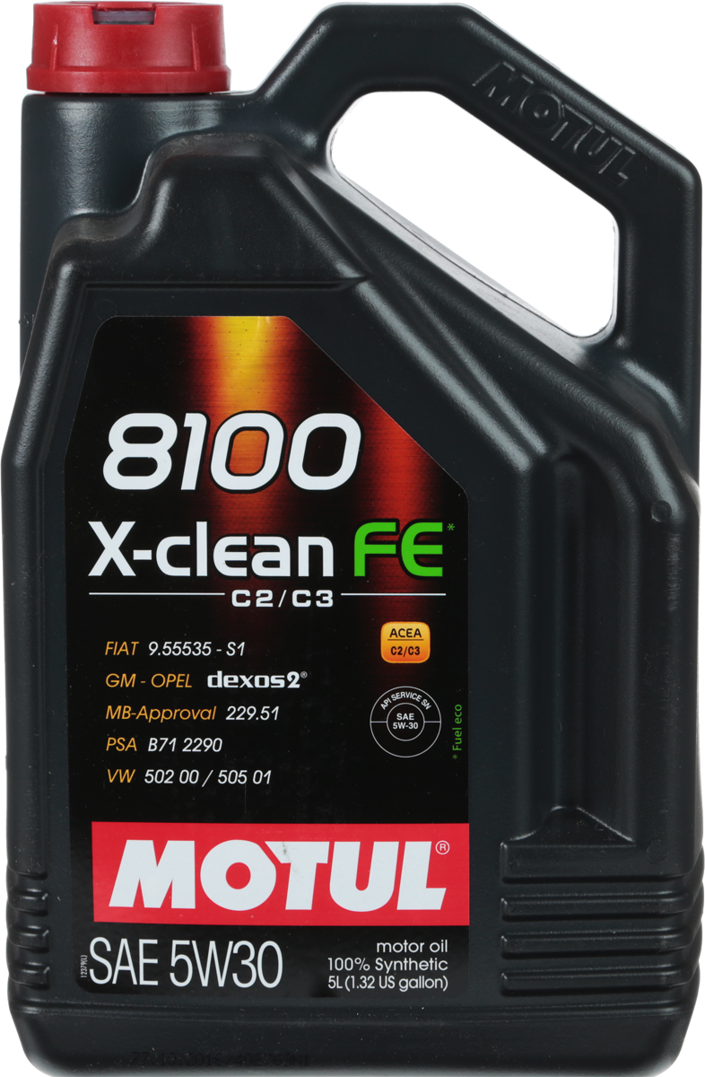 Масло моторное Motul 8100 X-Clean, синтетическое, 5W-30, 5 л104777100% синтетическое моторное масло со сниженным содержанием сульфатной золы (?0,8%), фосфора (0.07%-0.09%), серы (?0.3%) - Mid SAPS. Специально разработано для обеспечения высоких защитных свойств и топливной экономичности. Применяется для последнего поколения бензиновых и дизельных двигателей, отвечающих требованиям норм Евро IV и Евро V, которые оснащаются каталитическим нейтрализатором или сажевым фильтром (DPF). Соответствует требованиям PSA B71 2290 и GM-OPEL dexos2. ACEA Стандарты: ACEA C2 / C3API Стандарты: API SERVICES SN / CFОдобрения: GM-OPEL dexos2; MB-Approval 229.51; PSA B71 2290; VW 502 00 / 505 01; FIAT 9.55535-S1 / S3