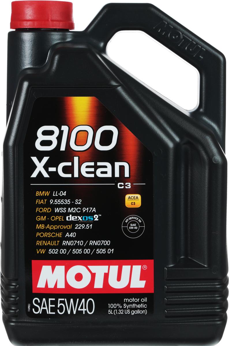 Масло моторное Motul 8100 X-Clean, синтетическое, 5W-40, 5 л102051Моторное масло для бензиновых и дизельных двигателей стандарта Евро IV и Евро V. 100% синтетическое. Высокотехнологичное 100% синтетическое моторное масло одобренное многими производителями техники. Специально разработано для бензиновых и дизельных двигателей автомобилей последнего поколения оснащенных турбо-наддувом и непосредственным впрыском, двигателей отвечающих требованиям норм Евро IV и Евро V и требующих использования в них масла стандарта ACEA C3: масла с высокой вязкостью HTHS (более 3.5 mPa/s), сниженным содержанием сульфатной золы (0,8%), фосфора (0.07%-0.09%), серы (0.3%) - Mid SAPS. Совместимо с каталитическими конверторами и сажевыми фильтрами (DPF). Перед применением необходимо ознакомиться с руководством по эксплуатации автомобиля. ACEA Стандарты: ACEA C3API Стандарты: API SNОдобрения: BMW LL-04; FORD WSS M2C 917A; MB-Approval 229.51; VW 502 00 / 505 00 / 505 01; PORSCHE A40; Renault RN0710 / 0700; GM-OPEL dexos2 - License number: GB2B0325011