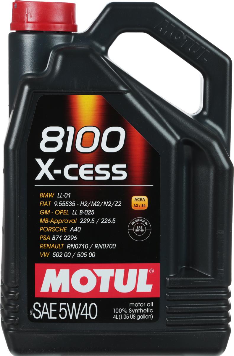 Масло моторное Motul 8100 X-Cess, синтетическое, 5W-40, 4 л104256100% синтетическое моторное масло для бензиновых и дизельных двигателей. Высокотехнологичное 100% синтетическое моторное масло, специально разработано для современных двигателей легковых автомобилей обладающих большой мощностью и объемом, для бензиновых и дизельных двигателей с непосредственным впрыском, оснащенных системами нейтрализации отработанных газов. 8100 X-cess 5W-40 - имеет многочисленные допуски автопроизводителей, что позволяет применять его в гарантийный период. Применяется в двигателях, работающих на всех сортах бензина, дизельного и газового топлива (LPG). ACEA Стандарты: ACEA A3/B4API Стандарты: API SN/CFОдобрения: OPEL GM LL-B-025; MB-Approval 229.5; BMW LL-01; PORSCHE A40; VW 502 00/505 00; Renault RN 0710/0700; GM-Opel LL B-025 (Diesel); FIAT 9.55535-H2; FIAT 9.55535-M2; FIAT 9.55535-N2; FIAT 9.55535-Z2; PSA B71 2296