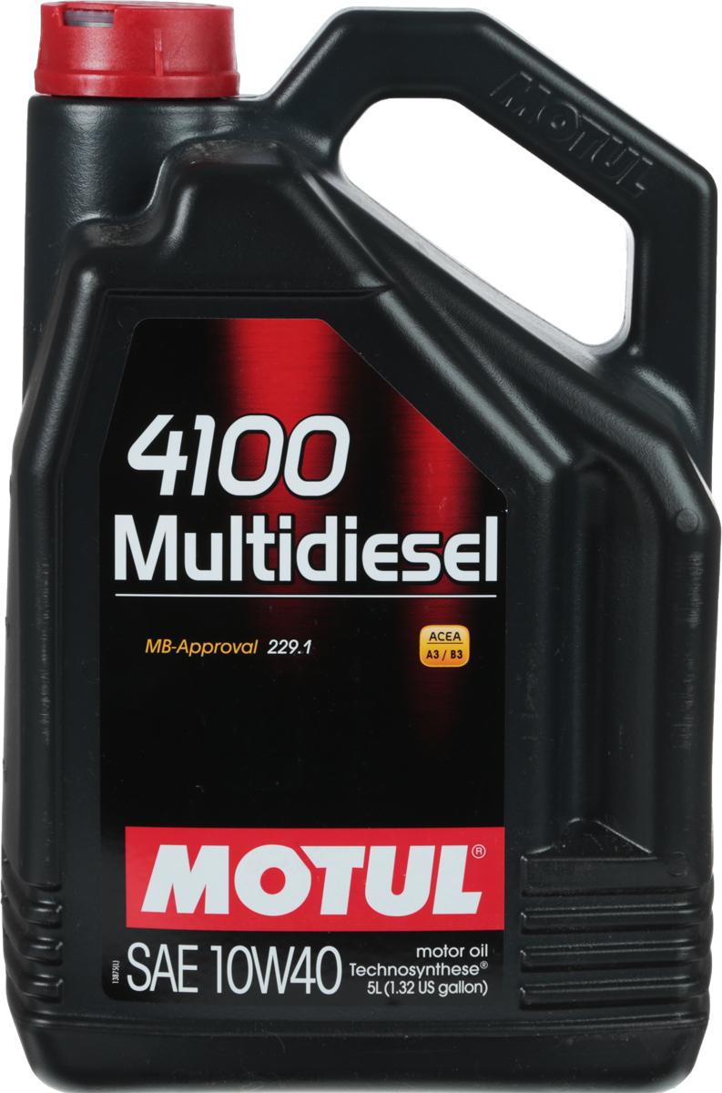 Масло моторное Motul 4100 Multidiesel. Technosynthese, синтетическое, 10W-40, 5 л100261Моторное масло для дизельных и турбодизельных автомобилей Technosynthese. Специально разработано для автомобилей с дизельными двигателями. Все современные дизельные двигатели и двигатели предыдущего поколения, в том числе с турбонаддувом. ACEA Стандарты: A3/B3API Стандарты: API CFОдобрения: MB-Approval 229.1.
