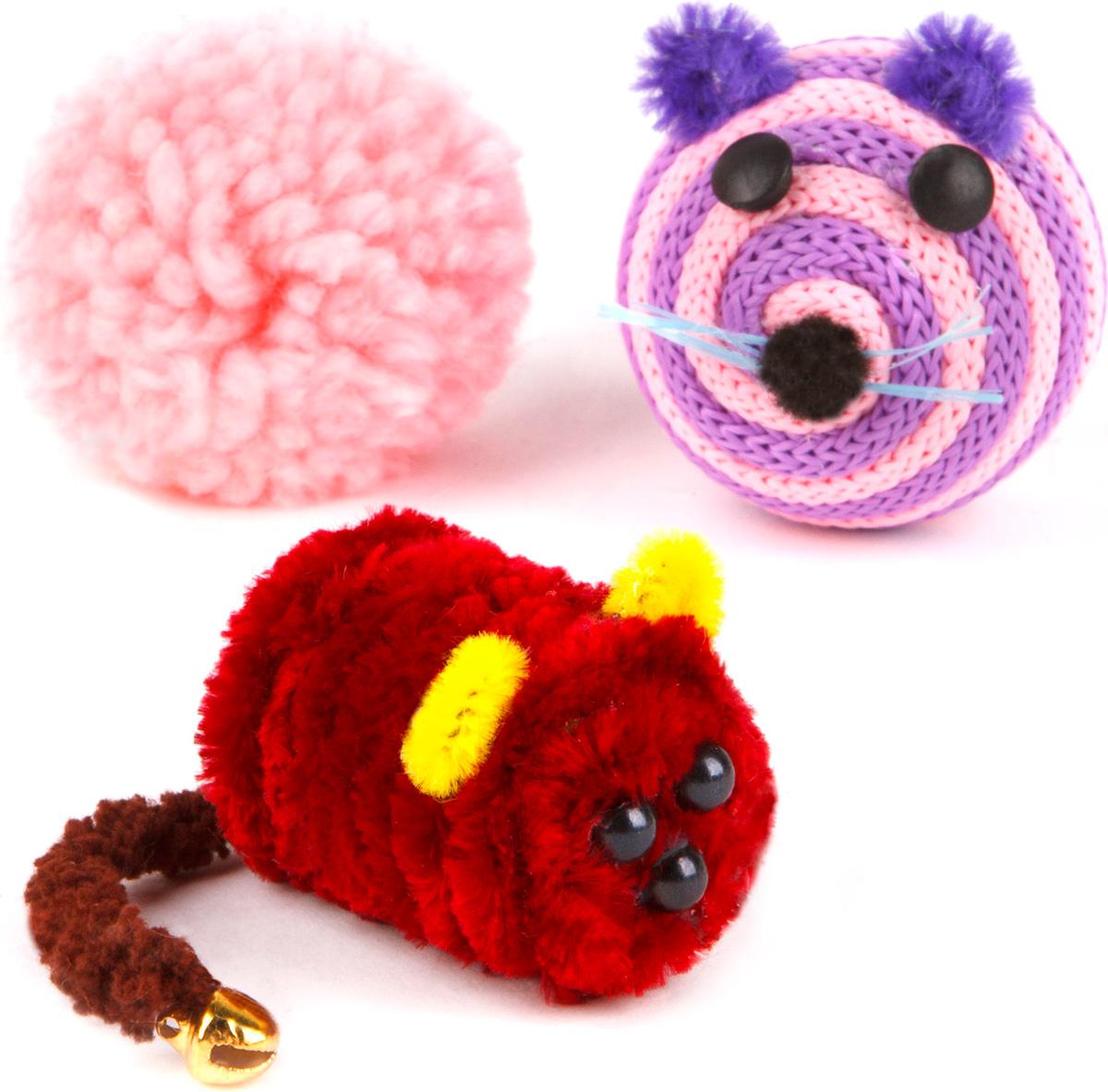 Игрушка для кошек GLG Ассорти, 3 шт игрушки для животных zoobaloo игрушка для кошки бамбук меховой мячик на резинке 60см