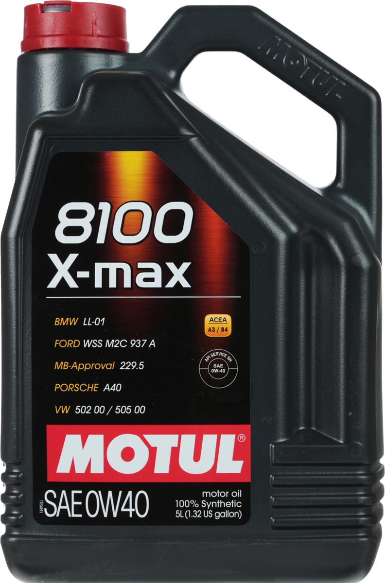 Масло моторное Motul 8100 X-Max, синтетическое, 0W-40, 5 л104533Высокотехнологичное 100% синтетическое моторное масло, специально разработанное для последнего поколения мощных бензиновых и дизельных двигателей, в том числе с непосредственным впрыском. Рекомендовано для мощных двигателей BMW, MERCEDES и PORSCHE. Обладает превосходной термоокислительной стабильностью и противоизносными свойствами. Обеспечивает высокие скоростные и мощностные характеристики двигателя. ACEA Стандарты: ACEA A3/B4API Стандарты: API SERVICES SNОдобрения: BMW LL-01; MB-Approval 229.5; PORSCHE A40; VW 502 00 / 505 00
