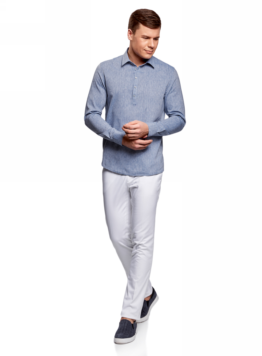 Рубашка мужская oodji Lab, цвет: синий, белый. 3L320001M/46881N/7510G. Размер XL-182 (56-182) пуловеры oodji пуловер
