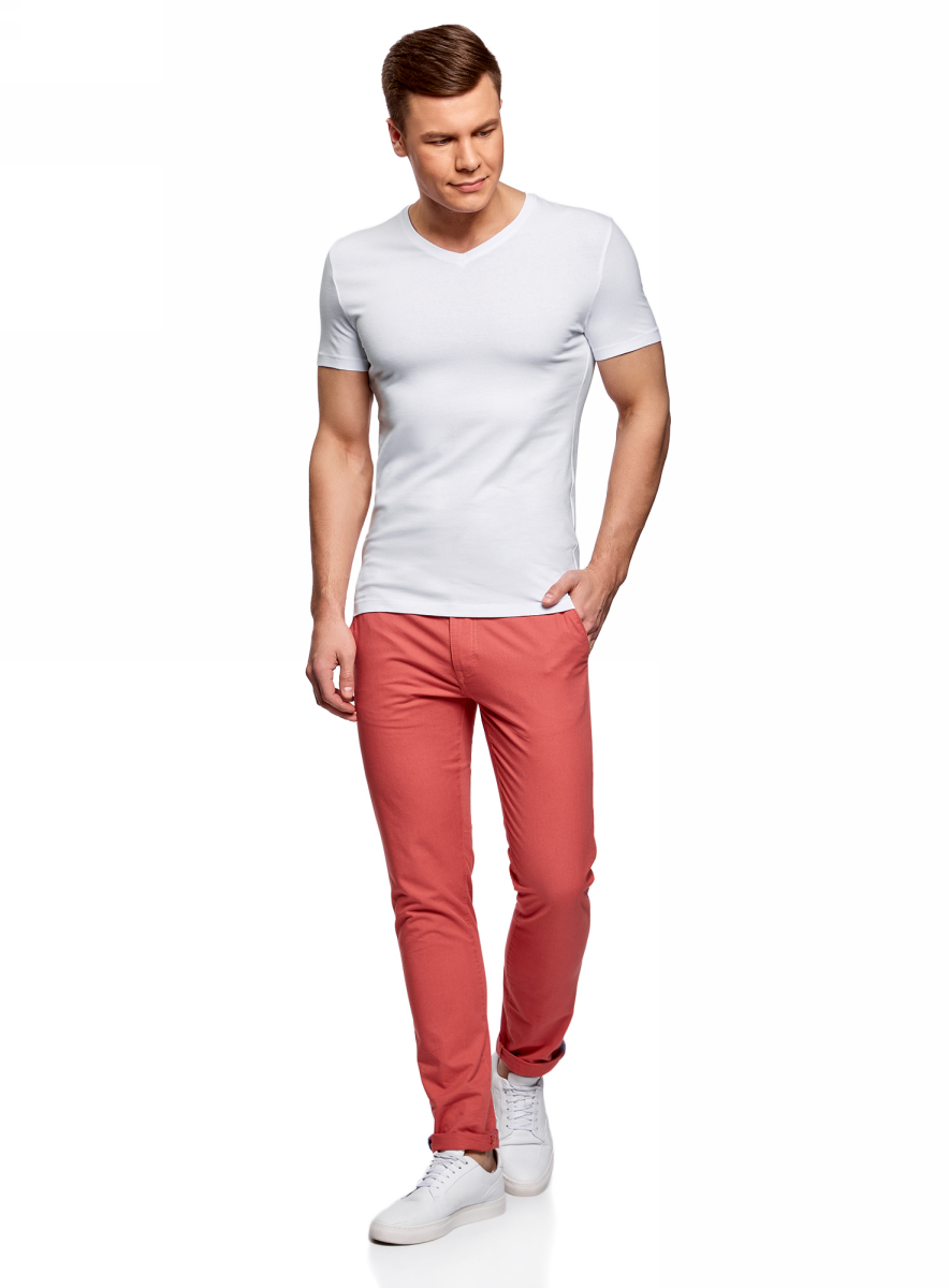 Футболка мужская oodji Basic, цвет: белый. 5B612002M/46737N/1000N. Размер XL (56)5B612002M/46737N/1000NБазовая футболка с V-образным вырезом горловины и короткими рукавами выполнена из эластичного хлопка.