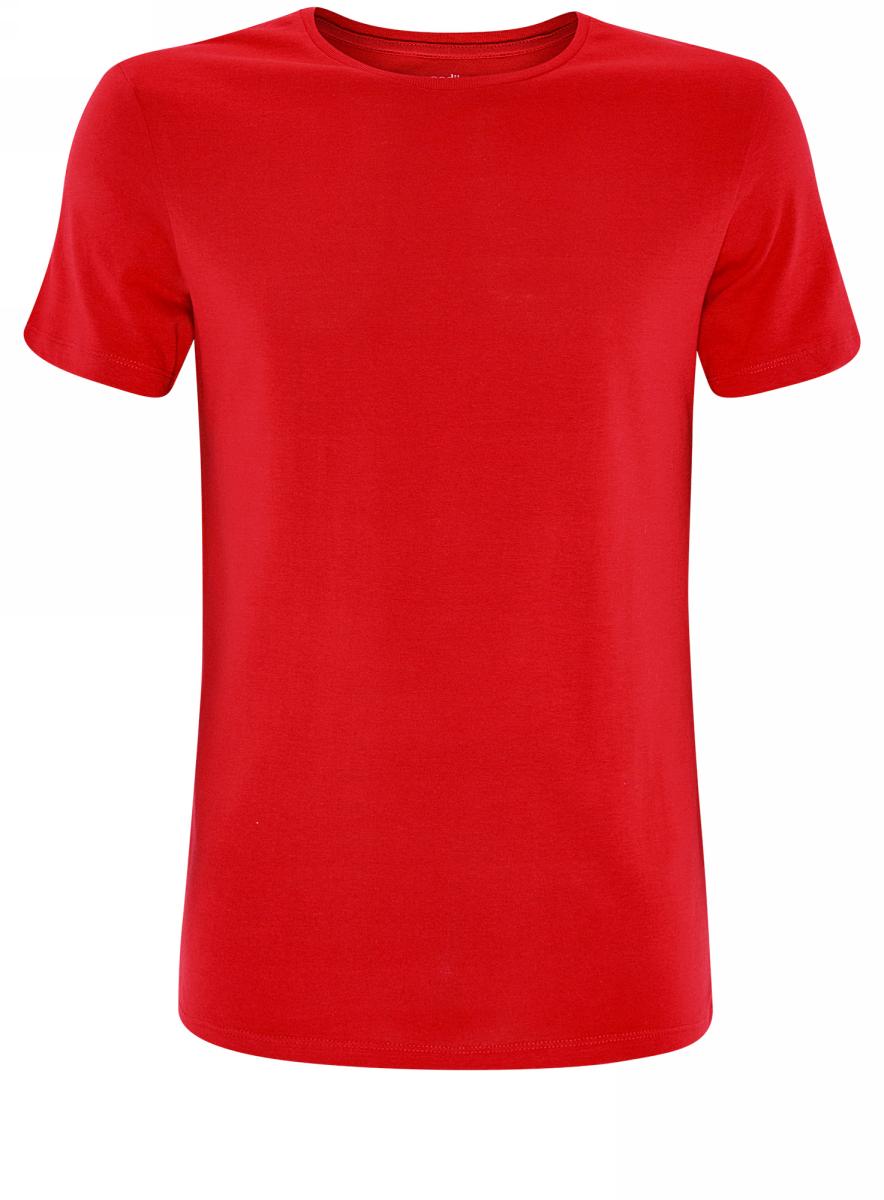 Футболка мужская oodji Basic, цвет: красный. 5B621002M/44135N/4500N. Размер S (46/48) куртка мужская montana цвет черный 22306 b размер s 46