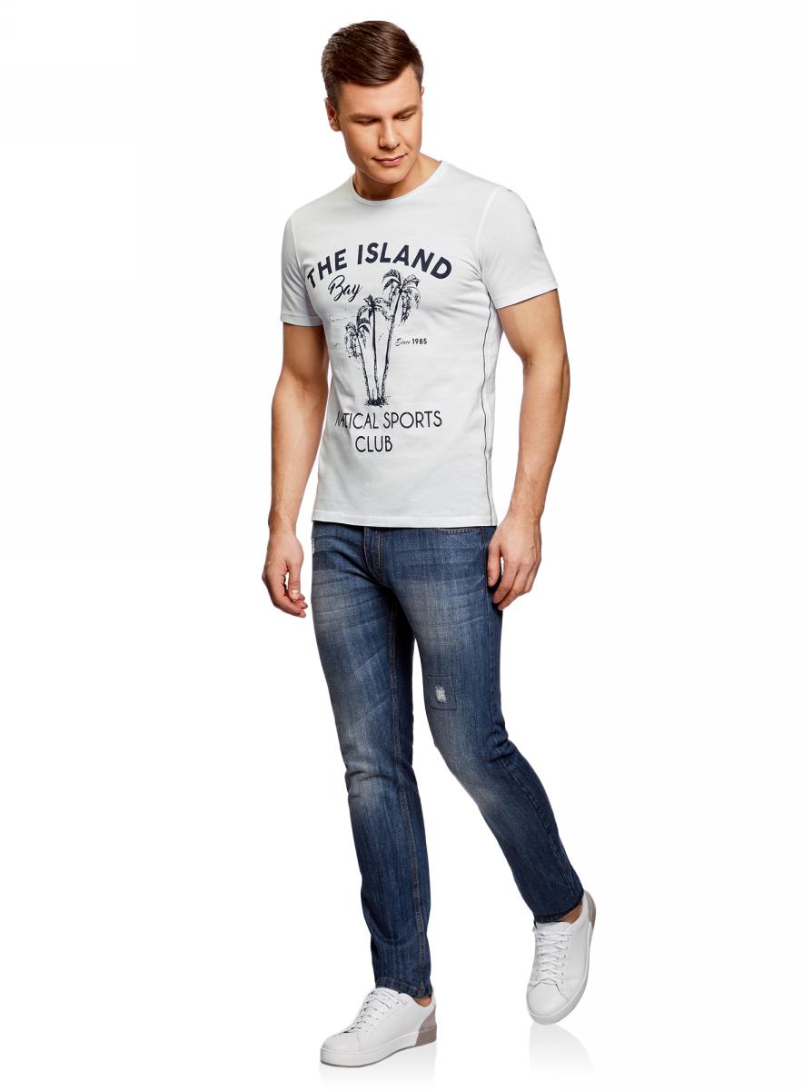 Футболка мужская oodji Lab, цвет: белый. 5L611351M/39485N/1079P. Размер XL (56)5L611351M/39485N/1079PМужская футболка с круглым вырезом горловины и короткими рукавами выполнена из натурального хлопка. Спереди модель оформлена принтом пальмы.
