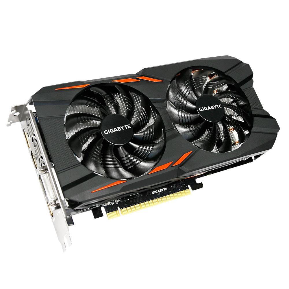 Gigabyte GeForce GTX 1050 Ti Windforce OC 4G 4Gb видеокарта (GV-N105TWF2OC-4GD)GV-N105TWF2OC-4GDБудьте готовы к игровым сражениям с Gigabyte GeForce GTX 1050 Ti Windforce OC. Эта видеокарта обеспечивает высокую производительность, добавляя продвинутые игровые технологии (NVIDIA GameWorks) и самую продвинутую игровую экосистему (GeForce Experience).Реализовано с помощью новой архитектуры NVIDIA Pascal, Geforce GTX 1050 Ti - квантовый скачок в эффективности производительности и энергопотребления.Технология NVIDIA GameWorks поддерживает последние требования современных мониторов, включая VR, мониторы с ультра высоким разрешением, также обеспечивает плавный игровой процесс, кинематографический опыт, возможность захвата изображения 360 даже в VR. Откройте для себя новое поколение VR, с низким показателем задержки, наушниками последнего поколения, благодаря технологии NVIDIA VRWorks. VR аудио (звуковые эффекты), реалистичная графика и физика предметов, позволяют вам прочувствовать и услышать каждый момент.Система охлаждения WINDFORCE 2X оснащена двумя вентиляторами 90 мм с уникальным дизайном лопастей, двумя медными композитными теплотрубками, технологией прямого контакта. Все это позволяет получить эффективный уровень теплорассеивания для высокопроизводительной системы с низкой температурой.Воздушный поток оптимизирован с помощью разнонаправленного вращения вентиляторов, которое позволяет уменьшить турбулентность и эффективно отводить тепло. Воздушный поток эффективно отводится от радиатора с помощью вентиляторов, лопасти которых имеют специальные насечки и форму. Система охлаждения WINDFORCE 3X, состоящая из трех медных композитных трубок, которые напрямую отводят тепло от GPU, специальной архитектуры пластинок радиатора, уникального дизайна лопастей вентилятора. Благодаря этим характеристикам удается достичь высокого уровня отвода тепла, при высоких нагрузках и низкой температуре.Используется полу-пассивный режим работы, вентиляторы останавливают свою работу, если темп