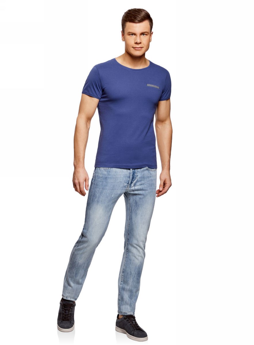 Футболка мужская oodji Lab, цвет: синий. 5L611354M/44135N/7575B. Размер XS (44)5L611354M/44135N/7575BМужская футболка с декоративным карманом, круглым вырезом горловины и короткими рукавами выполнена из натурального хлопка.