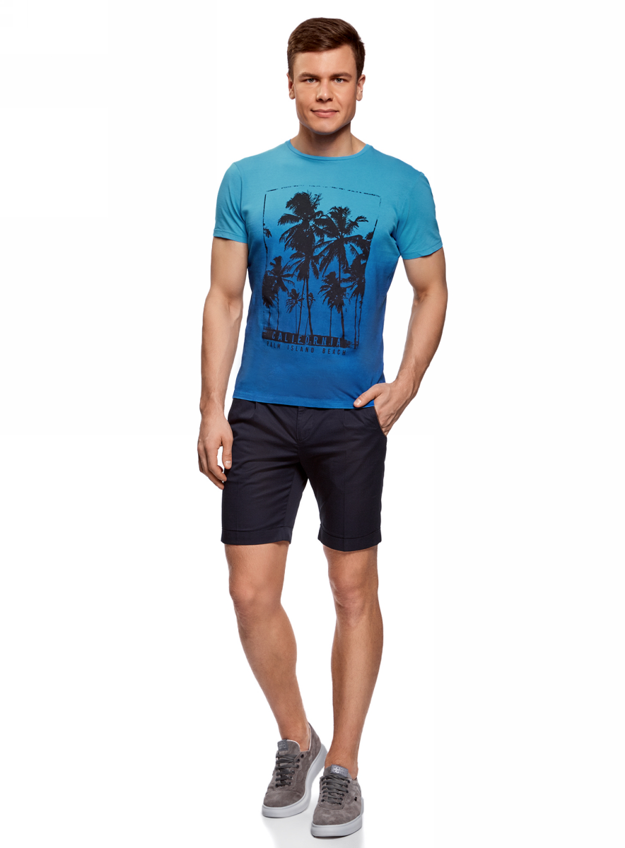 Футболка мужская oodji Lab, цвет: синий. 5L611366M/39485N/7529P. Размер M (50)5L611366M/39485N/7529PМужская футболка с круглым вырезом горловины и короткими рукавами выполнена из натурального хлопка. Спереди модель оформлена принтом пальмы.