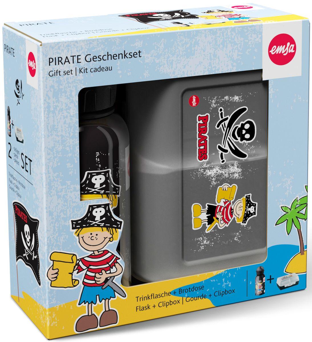Ланч-бокс Emsa Pirat Kids, с фляжкой, цвет: серый, черный516164Ланч-бокс и фляжка Emsa Pirat Kids выполнены из пищевого пластика. Ланч-бокс для детей позволяет взять даже сложный обед, из нескольких блюд, в одном компактном контейнере, так как имеет разделитель. Контейнер надежно закрывается на клипсу. Фляга изготовлена из алюминия и покрыта специальным составом, который препятствует окислению. В нее можно заливать не только воду, но и соки, чай и другие напитки. Из фляги очень удобно пить, а крышка закрывается абсолютно герметично. Объем фляги: 0, 4 л.
