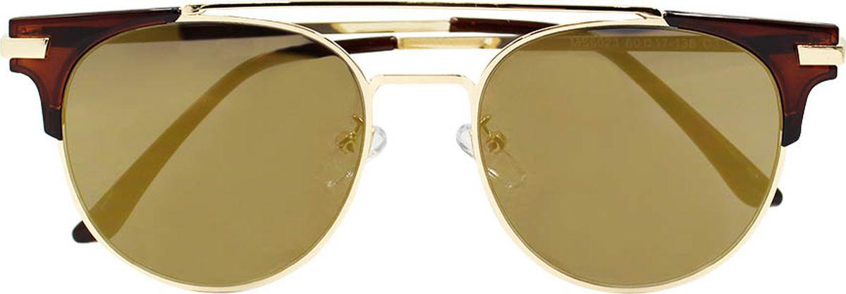 Очки солнцезащитные женские Taya, цвет: золотистый, коричневый. S-O-0113INT-06501Броулайнеры, ультрафиолетовый фильтр, зеркальные. Габариты предмета: высота линзы 4,5 см; ширина линзы 5,5 см; длина дужки 14,5 см