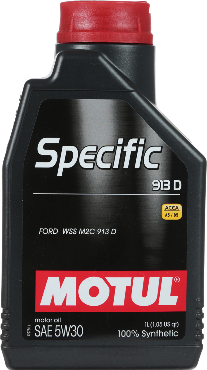 Масло моторное Motul Specific 913D, синтетическое, 5W-30, 1 л104559100% синтетическое энергосберегающее масло для всех дизельных и некоторых бензиновых (см. техническую документацию) двигателей FORD. Одобрение FORD WSS M2C 913 D перекрывает большинство двигателей, требующих моторное масло с допуском FORD WSS M2C 913 A, 913 B и 913 C.ACEA Стандарты: ACEA A5/B5
