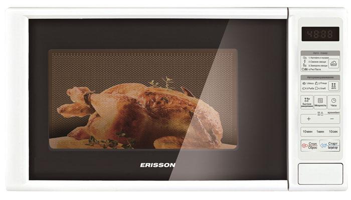 Erisson MW20SF СВЧ-печьErisson MW20SFМикроволновая печь Erisson MW20SF - это стильная модель, которая станет прекрасным дополнением на вашей кухне. Данный прибор имеет электронный тип управления, которое осуществляется с помощью кнопок на удобно расположенной панели. Дверца открывается при помощи кнопки. Объем камеры позволяет размещать достаточно большое количество продуктов. Внутри камера освещена. Режимы: разморозка, автоматическое приготовление, автоматический разогрев, автоматическая разморозка, программирование процесса приготовления.