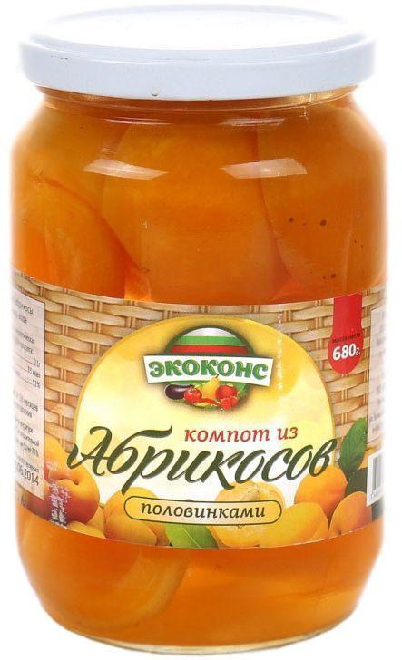 Экоконс компот из абрикосов половинками, 720 мл3800500082172Яркие оранжевые плоды, похожие на маленькое солнце, очень полезны для здоровья. Высокое содержание калия в плодах абрикоса способствует улучшению сердечной функции, при регулярном его употреблении, а магний помогает улучшить память.