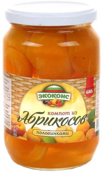Экоконс компот из абрикосов половинками, 720 мл