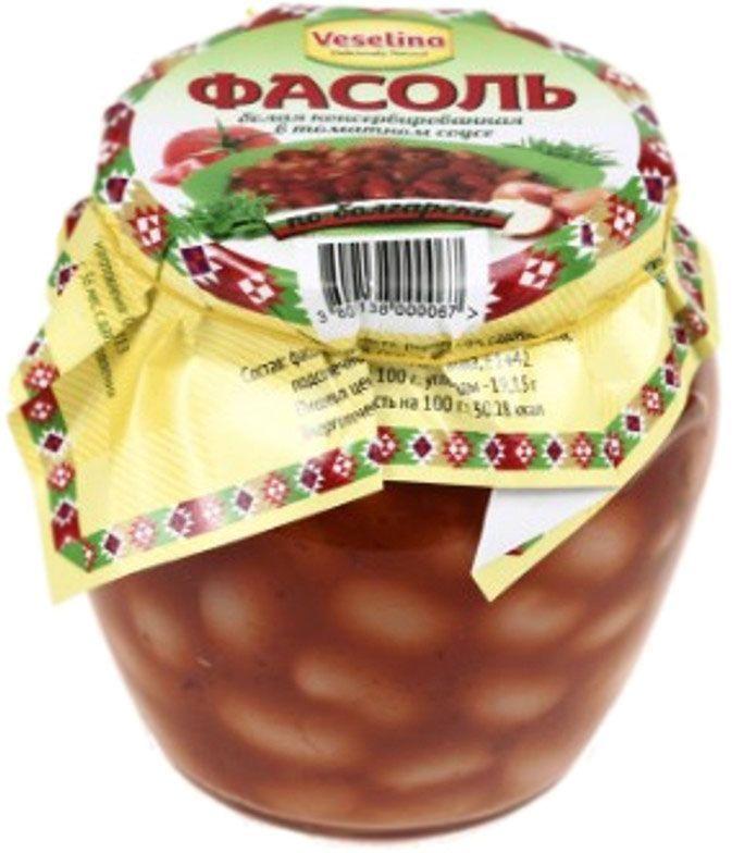 Veselina фасоль гигантская белая в томатном соусе, 560 г3800500082295Белая фасоль в томатном соусе Веселина - это готовое питательное блюдо в легком томатном соусе, которое также можно использовать в качестве гарнира. Белая фасоль богата растительными белками. По содержанию белка она уступает только мясу. Зерна фасоли наполнены витаминами, минералами и полезной диетической клетчаткой. Включение фасоли в рацион необходимо и полезно.Польза, которую фасоль приносит пищеварению, не ограничивается ее диетическими свойствами, она регулирует и восстанавливает нарушенный обмен веществ. Фасоль всячески рекомендуется тем, кто страдает гипертонией, атеросклерозом, неприятностями с сердечным ритмом и прочими заболеваниями сердца и сосудов. Также она незаменима для людей с ослабленной и проблемной нервной системой. Тем, кто перенес тяжелые заболевания, фасоль поможет восстановить силы и как можно скорее реабилитироваться. Для поклонников вегетарианства и постных блюд – вкусный и быстрый вариант утолить голод. Приятного аппетита с Веселина!