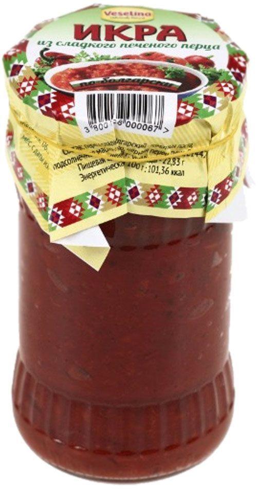Veselina Лютеница икра из сладкого печеного перца, 314 г оливки зелёные pikarome без косточки в рассоле 350 г