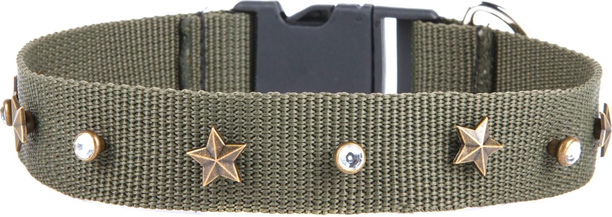 Ошейник для собак GLG Звезда, регулируемый, цвет: хаки, размер 2,5 х 55 см0120710Ошейники для собак Звезда, размер 2, 5х55см, регулируемый, материал- брезент, цвет хаки.