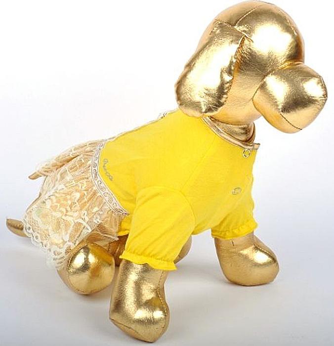 Платье для собак GLG Фэшн GOLD. Размер SMOS-010-GOLD-SПлатье для собак GLG Фэшн GOLD выполнено из вискозы. Рукава не ограничивают свободу движений, и собачка будет чувствовать себя в нем комфортно. Изделие застегивается с помощью кнопок..Модное и невероятно удобное платье защитит вашего питомца от пыли и насекомых на улице, согреет дома или на даче. Длина спины: 23-25 см Обхват груди: 31-33 см.